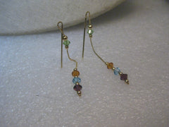 14kt Solid Gold Threader Earrings, Pierced, with Swarovski Crystals, 1.86gr. Italy