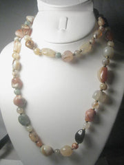 "Vintage Polished Agate/Hardstone 24"" long Necklace, mixed varieties"