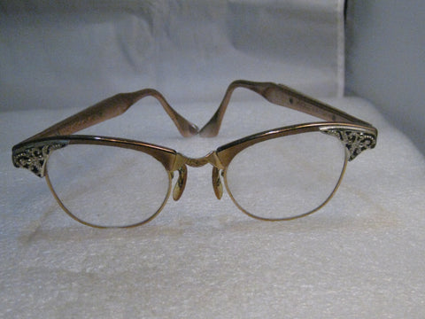 Vintage Eyeglass Frames, Art Craft 1960's  Ladies, 12kt G.F., 4-1/4-5-1/2, Rose Gold, Two-Tone