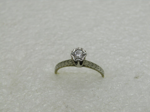 Vintage 14kt Diamond Engagement Ring, 1920's-1930's, Sz. 5,5m, 1,58 gr. Two Tone