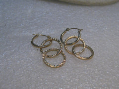 "14kt Gold Triple Hoop Pierced Earrings,  Convertible, 1.5"", 1.50 grams, signed SLC"