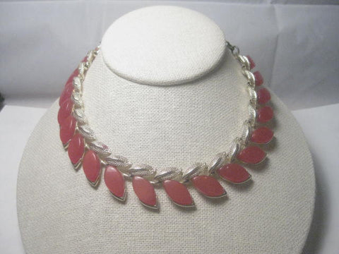Vintage  Red Thermoset  Choker Necklace, 1950's-1960's, 16""