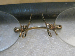 "Vintage Eyeglasses, Nose-Pinch Gold Filled, 4"", in case, Rubin and Rubin"