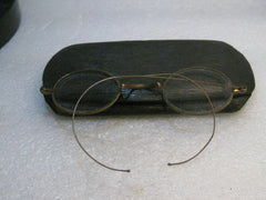 Vintage Eye Glasses, Wire Rim, Early 1900's, in case - G.F.