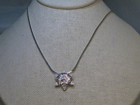 "Sterling Silver Diamond Snowflake Heart Necklace, 20"" Serpentine Chain, signed SUN"