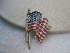 "U.S.A. Monet Flag Brooch, ""United We Stand"", 2001, Enameled with Rhinestones"