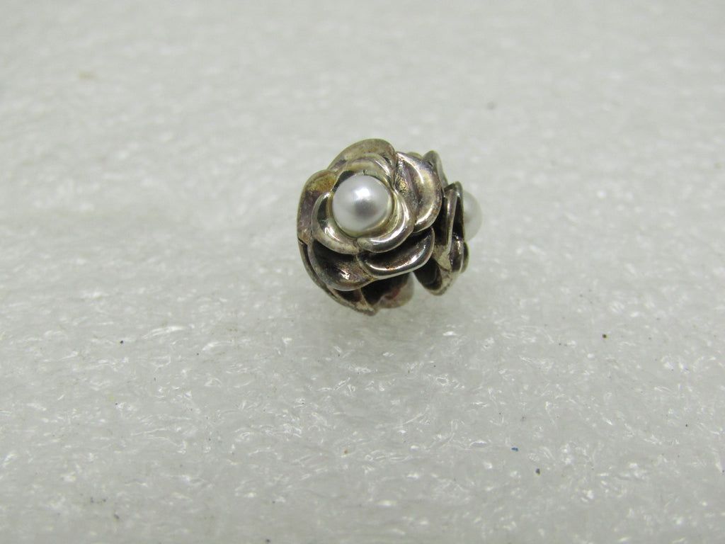Sterling Silver Persona Floral Pearl Bead, Slide, 3.05 gr, In Box/Pouch