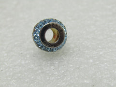 Sterling Silver Persona Charlie Brown Bead, Slide, Blue Black Rhinestones, NIB, 3.25gr.
