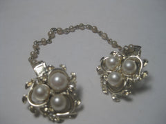"1950's Sweater Clip/Guard, Faux Pearl/Rhinestone, 7.25"", Gold Tone"