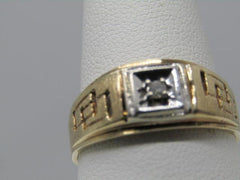 Vintage 10kt Men's Diamond Ring, 9mm, Cut Out Design, Signed T, 4.54 gr., Sz. 11, 1960's