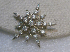 "Sterling Silver CZ Snowflake Brooch, 1.75"", 8.63 grams, signed"