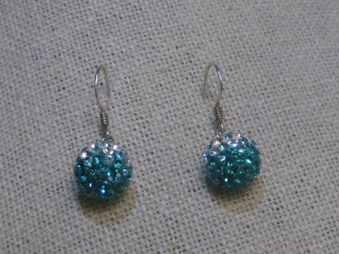 "Sterling Silver Teal/Clear Disco Ball Earrings, Pierced, 10mm, 1"" dangles"