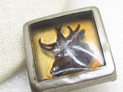 "Vintage Elk/Deer Square Bridle Button Rosette, Glass, 1.5"", early 1900's"
