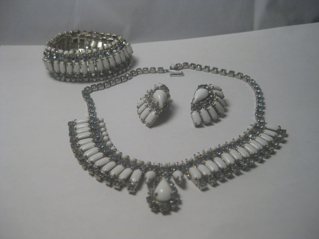 "Vintage  1940's Japan Demi Parure Milk Glass & Blue Rhinestone 15"" Choker Necklace, Bracelet, Clip Earrings, Mid-Century"