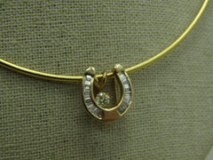 "14kt Diamond Horseshoe Necklace Floating Solitaire, Three-in-One Convertible, 18"" OFFERS ACCEPTED"