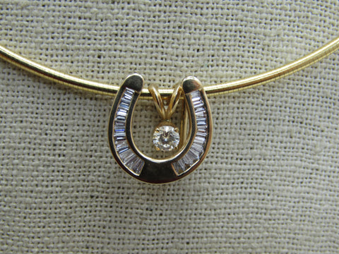 "14kt Diamond Horseshoe Necklace Floating Solitaire, Three-in-One Convertible,  18"" Snake Chain,Good Luck Necklace"