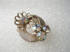 Vintage Gold Tone 1940's Art Deco Circle Pin, A.B. Rhinestone Accents, Petite