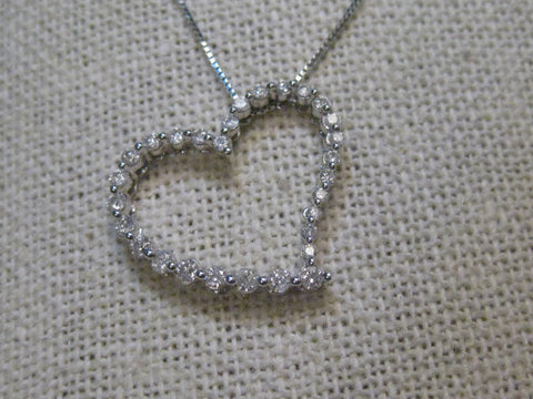 "10kt  Diamond Heart Pendant, 20"" Necklace, 14kt chain, box link, Anniversary, Valentine"