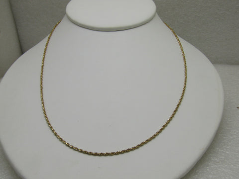 "Vintage 14kt Gold Rope Chain Necklace, 18"", 2.68 Grams, Signed A"