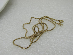"Vintage 14kt Gold Twisted Box Chain Necklace, 18"", 4.28 Grams, Signed RVL, 1.5mm"