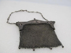 "Antique Sterling Silver Art Nouveau Mesh Purse, Chatelaine,  98.94grs. 5"" Long 1895-1910"