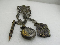 "Victorian Chatelaine, Three Drops, Flask, Pencil, Tablet, Ornate, 8"". 1800's"