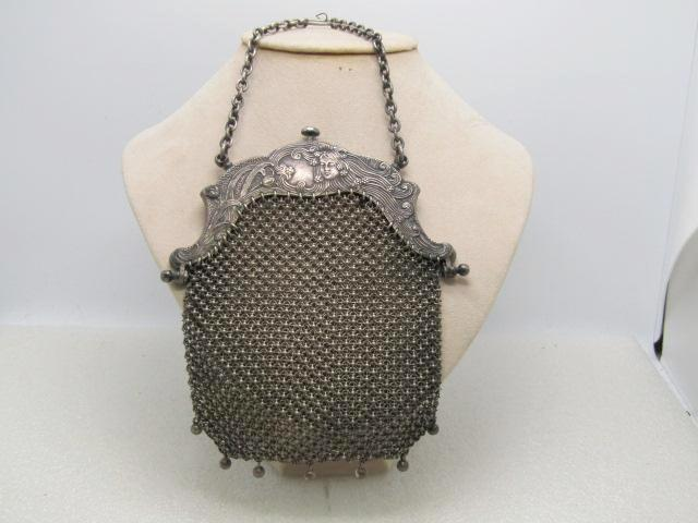 "Antique Sterling Silver Art Nouveau Mesh Purse, Chatelaine,  Signed D 1270,  145.25grs. 5.5"" Long 1895-1910"