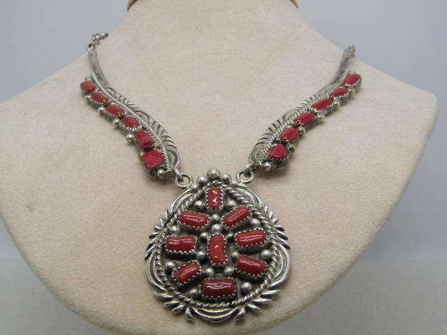 "Vintage Sterling Navajo Coral Necklace, Sallie Yazzie, 18"", 51.25gr. Statement/Ornate"