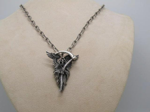 "Vintage Sterling Silver Biker Necklace, Grim Reaper Necklace, 24"", 36.36gr.,  1980's"