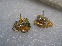 10kt Black Hills Gold Leaf Earrings, Pierced, Two-Tone, 13mm x 11mm