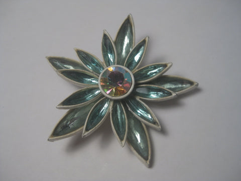 Vintage 1960's Aqua Navette White Enameled Floral Brooch with A.B. Center, 2.5""