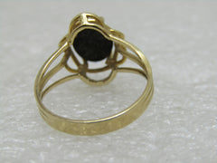 Vintage 14kt Gold Onyx Ring, Triple Band, Size 6.5, 2.51 gr., .55 ctw, Signed KFI