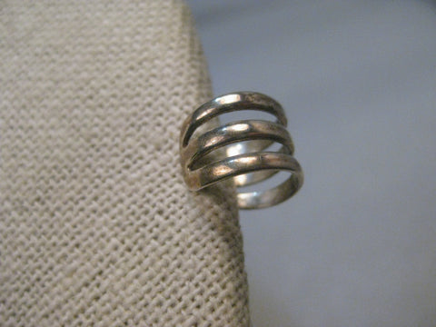 Vintage Sterling Silver Cuff Earring, Three Bands, 1.11 grams, 10.9mm