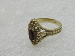 14kt Gold Marquise Garnet Filigree Ring, Sz. 6.25, 3.0 Gr., .35 ctw, Signed