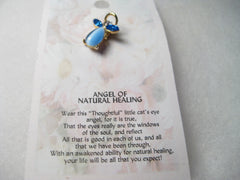 Vintage Blue Moonstone & Rhinestone Angel Tack Pin, Cat's Meow - Angel of Healing, New on Card