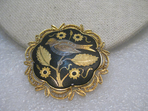 Vintage Damascene Brooch, Filigree Frame, Bird on a Branch, Trombone Clasp