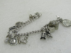 "Vintage Sterling Silver Charm Bracelet, 7"", Elco, 7mm Double Link, 12 Charms"