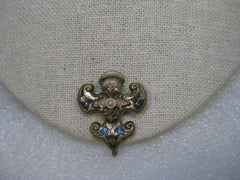 Victorian Fleur-de-Lis Faux Pearl, Enameled with Suspension Hook, 1800-1900's