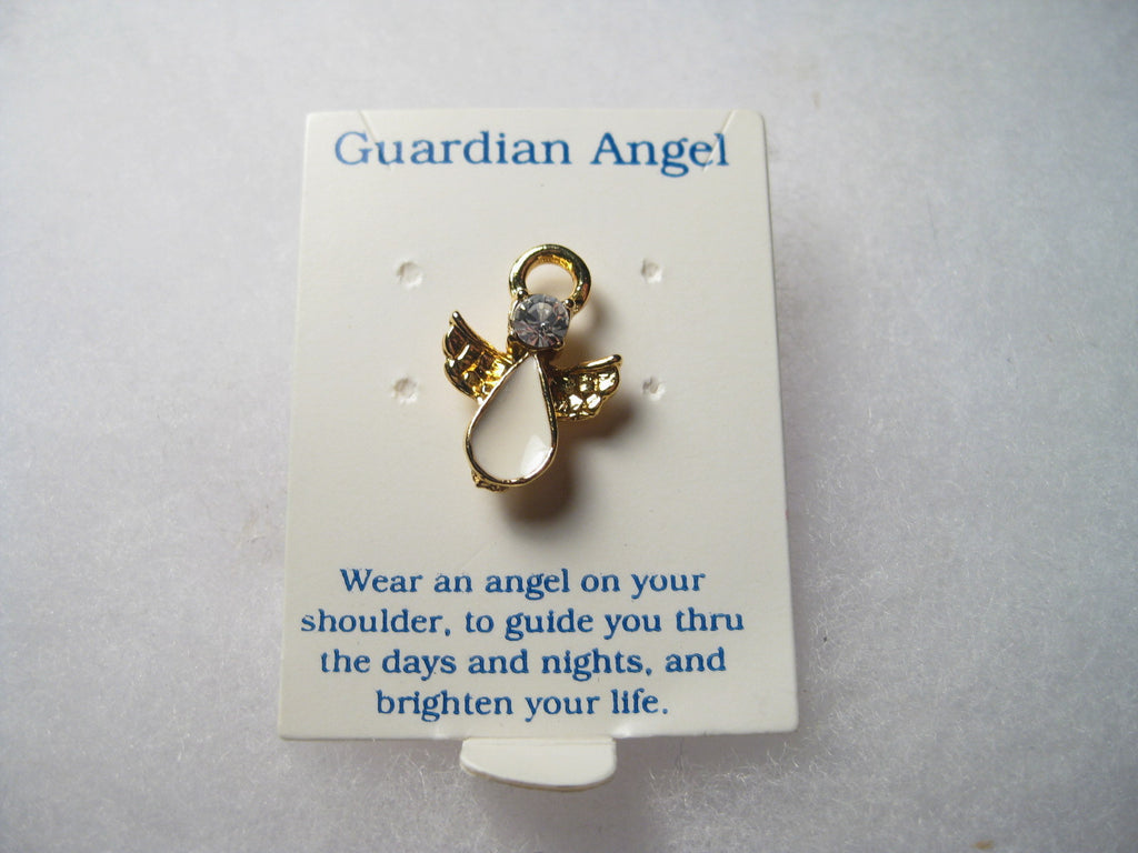 Guardian Angel, Blue Rhinestone, White Enameled, Goldtone Tack pin - New on Card, 1990s