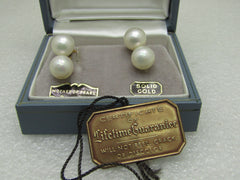 Vintage 10kt Double Pearl Earrings, Screw Back, Majorica Pearls, Spain, In Original Box with Tags