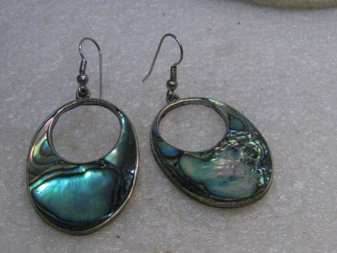Vintage Alpaca Abalone Pierced Earrings, 1960's-1970's, Mexico, Oval 2+""