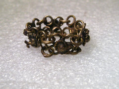 Vintage Brass  Beduoin Chain Mail Style Ring, Size 7, 8mm wide