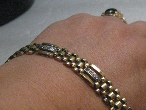 "Vintage Men's 10kt Woven Diamond Bracelet, 8.25"", Unisex, 22.37 grams, 28 diamonds, 3/8"" wide"