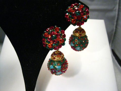 Vintage Cloisonne Ball & Rhinestone Encrusted Clip Earrings, Gold Tone Statement, Asian Themed- MUST SEE