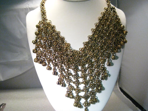 "Vintage Brass  Beduoin Tapered Bib Necklace - Habbyat - 18"", 5"" Drop"