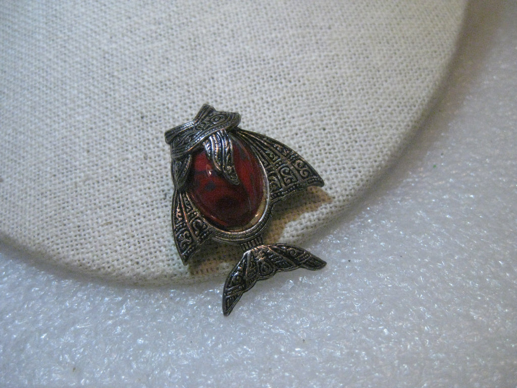 "Vintage Angel Fish Damascene Brooch, Red Cabochon, signed Spain, 1-1/3"", Silver Tone"