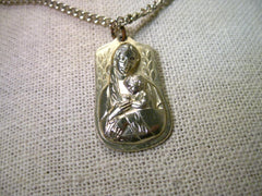 "Vintage Silver Tone Sacred Heart/Madonna & Child 18"" Necklace, signed Germany"