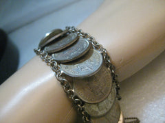 "Vintage Queen Elizabeth the Second, Coin Bracelet, Caribbean Group, 8"", 1955 coins,  Boho"