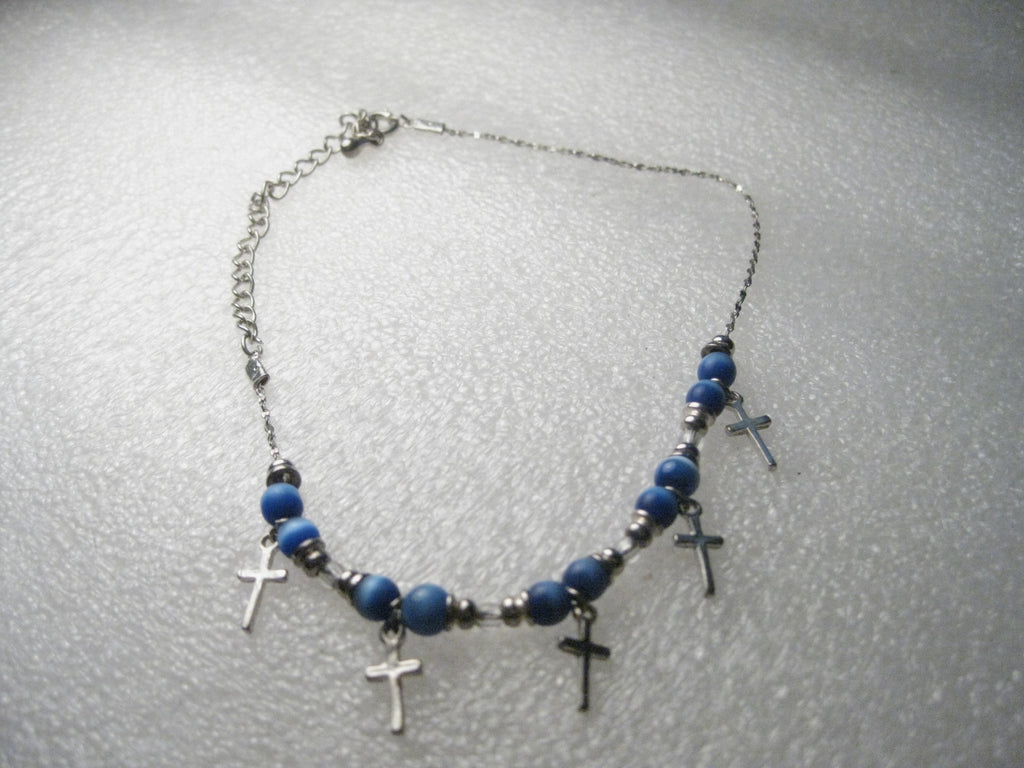 "Cross and Blue Moonstone Beaded Ankle Bracelet, 8"" - Silver tone, with 3"" extender chain"