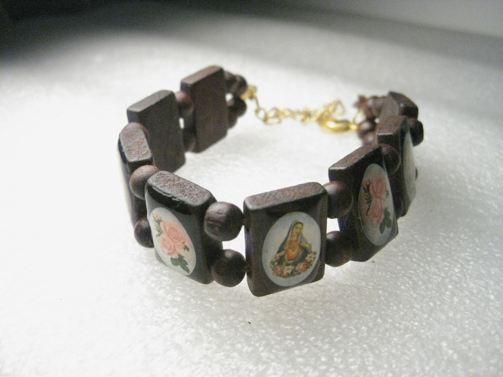 "Wooden Inlaid Blessed Mother, Madonna Wooden Bracelet, 7.5"", Pink Rose Accents, with extender chain"